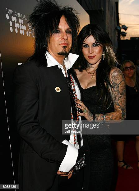 Musician Nikki Sixx and tattoo artist Kat Von D arrive at Hollywood Life Magazines 10th Annual Young Hollywood Awards at the Avalon on April 27 2008...