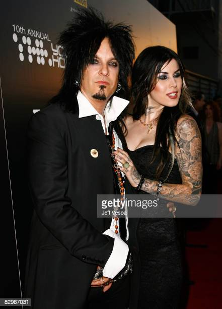 Musician Nikki Sixx and tattoo artist Kat Von D arrive at Hollywood Life Magazine�s 10th Annual Young Hollywood Awards at the Avalon on April 27 2008...