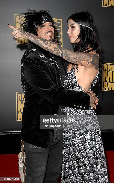 Musician Nikki Sixx and tattoo artist Kat Von D arrive at the 2008 American Music Awards held at Nokia Theatre LA LIVE on November 23 2008 in Los...