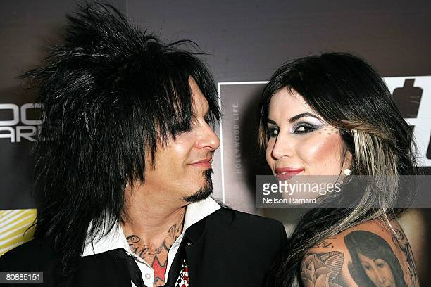 Musician Nikki Sixx and tattoo artist Kat Von D attend the Hollywood Life magazine's 10th Annual Young Hollywood Awards at Avalon on April 27 2008 in...