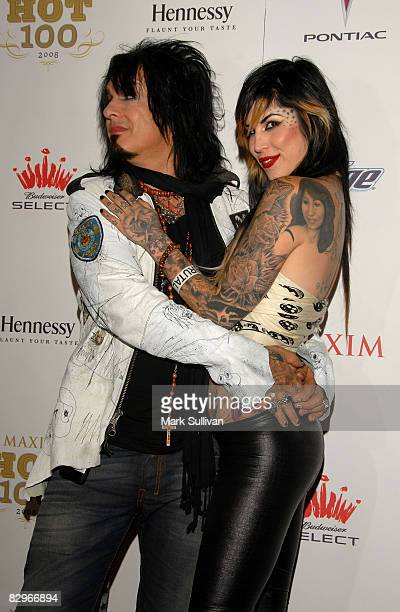 Musician Nikki Sixx and TV personality Kat Von D arrive at VH1's Maxim Hot 100 Party on May 21 2008 at Paramount Studios in Los Angeles California