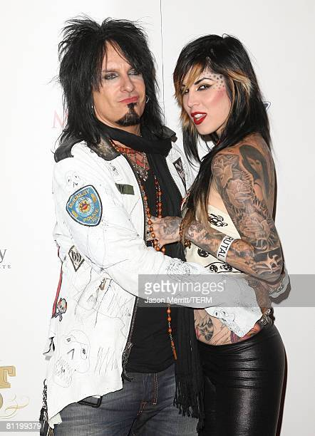 Musician Nikki Sixx and TV personality Kat Von D pose during Maxim's 2008 Hot 100 Party at Paramount Studios on May 21 2008 in Los Angeles California