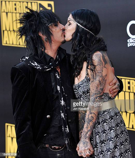 Musician Nikki Sixx of Motley Crue and television personality/tattoo artist Kat Von D arrive at the 2008 American Music Awards held at Nokia Theatre...
