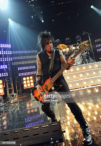 Musician Nikki Sixx of Sixx AM performs for iHeartRadio Live at The iHeartRadio Theater Los Angeles on October 7 2014 in Burbank California