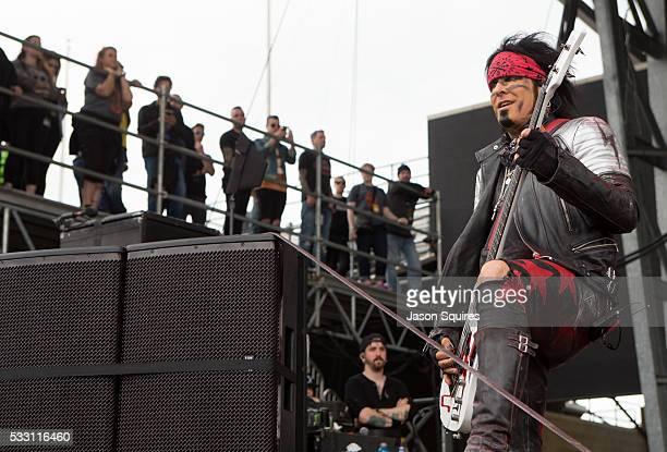 Musician Nikki Sixx of SixxAM performs at MAPFRE Stadium on May 20 2016 in Columbus Ohio