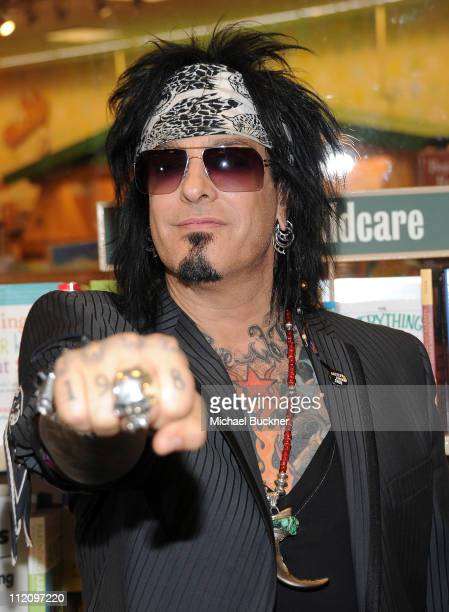 Musician Nikki Sixx signs copies of This Is Gonna Hurt at the Barnes and Noble at the Grove LA on April 12 2011 in Los Angeles California