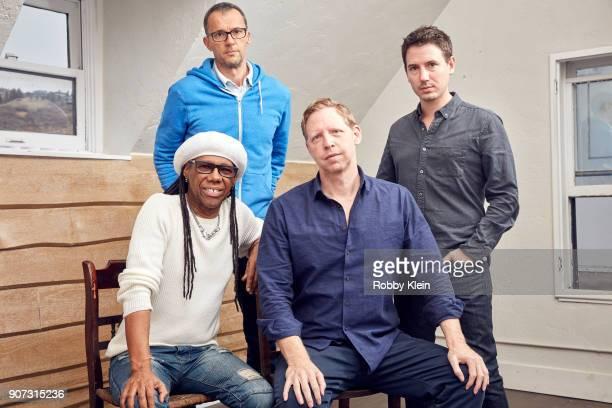 Musician Nile Rodgers film producer John Battsek director Matt Tyrnauer and film producer Corey Reeser from the film 'Studio 54' pose for a portrait...