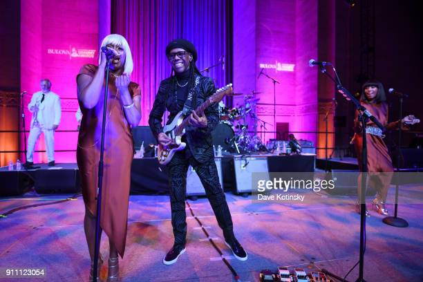 Musician Nile Rodgers performs onstage at the Tune of Time Bulova X GRAMMY Event on January 27 2018 in New York City