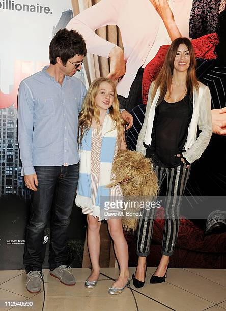 Musician Noel Gallagher daughter Anais Gallagher and Sara MacDonald attend the European Premiere of 'Arthur' held at The Cineworld O2 on April 19...