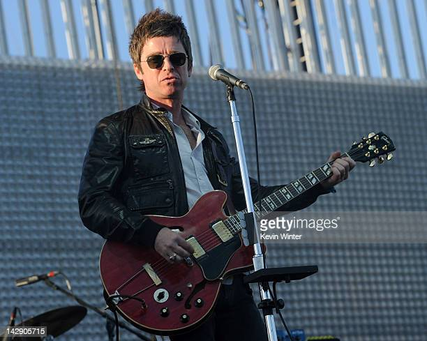 Musician Noel Gallagher of Noel Gallagher's High Flying Birds perform onstage during day 2 of the 2012 Coachella Valley Music Arts Festival at the...