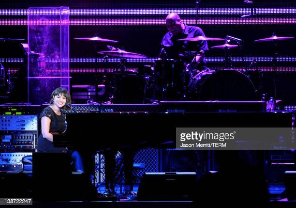 Musician Norah Jones performs onstage at the 2012 MusiCares Person of the Year Tribute to Paul McCartney held at the Los Angeles Convention Center on...