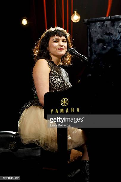 Musician Norah Jones performs onstage at the 25th anniversary MusiCares 2015 Person Of The Year Gala honoring Bob Dylan at the Los Angeles Convention...