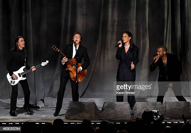Musician Nuno Bettencourt recording artists Paul McCartney Rihanna and Kanye West perform onstage during The 57th Annual GRAMMY Awards at the STAPLES...