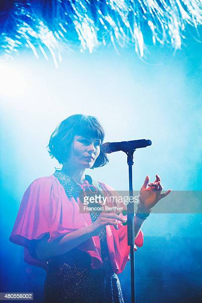Musician Olivia Merilahti from The Do band performs on July 4 2015 in Paris France
