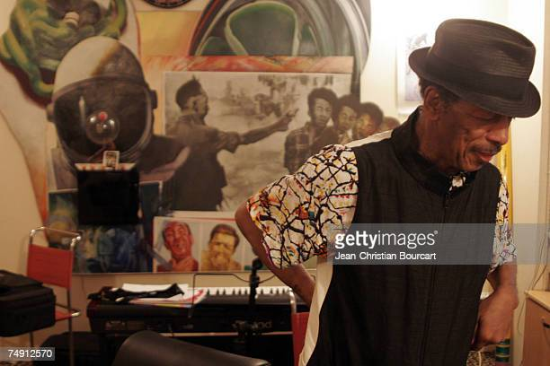 Musician Ornette Coleman poses for a photo in his apartment on August 1 2006 in New York City Coleman born March 9th is an American saxophonist and...