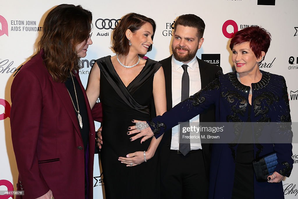 Musician Ozzy Osbourne, actress Lisa Osbourne, Jack Osbourne and tv personality Sharon Osbourne attend the 23rd Annual Elton John AIDS Foundation's Oscar Viewing Party on February 22, 2015 in West Hollywood, California.