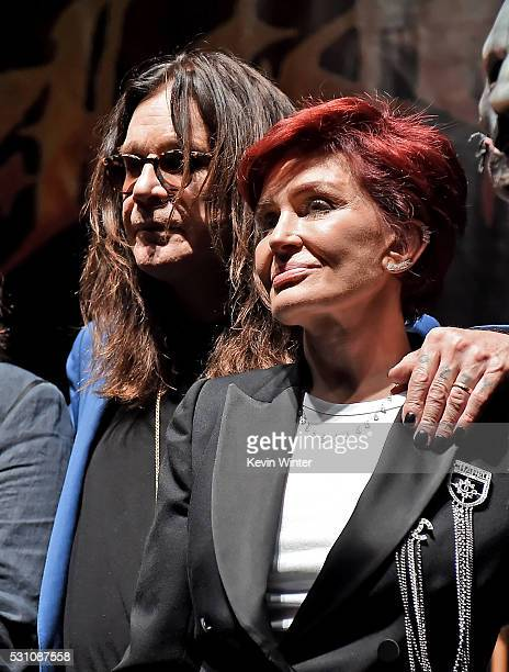 Musician Ozzy Osbourne and Sharon Osbourne attend the Ozzy Osbourne and Corey Taylor special announcement at the Hollywood Palladium on May 12 2016...