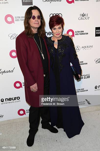 Musician Ozzy Osbourne and tv personality Sharon Osbourne attend the 23rd Annual Elton John AIDS Foundation's Oscar Viewing Party on February 22 2015...