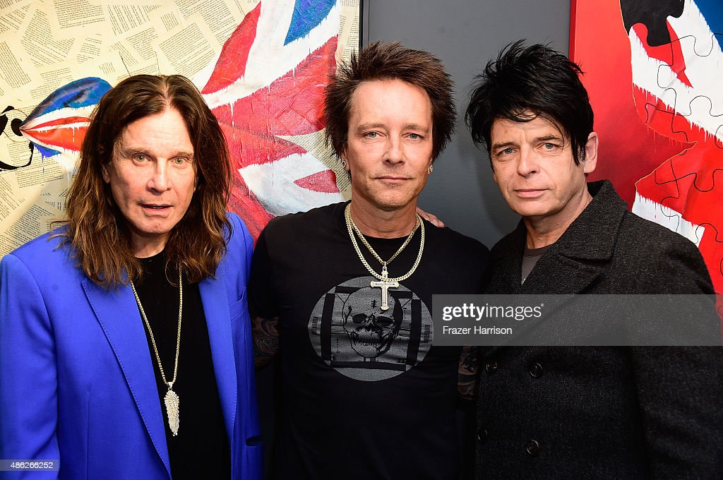 Musician Ozzy Osbourne, Musician/artist Billy Morrison and musician Gary Numan attend an VIP Opening Reception For 'Dis-Ease' An Evening Of Fine Art With Billy Morrison at Mouche Gallery on September 2, 2015 in Beverly Hills, California.