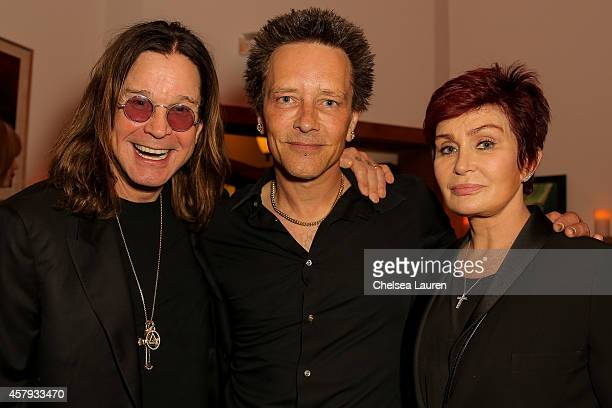Musician Ozzy Osbourne musician/artist Billy Morrison and Sharon Osbourne attend an evening of art with Billy Morrison and Joey Feldman benefiting...