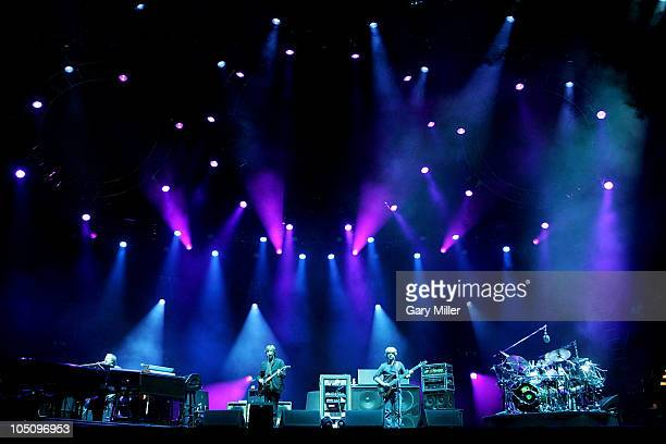 Musician Page McConnell, musician/vocalists Trey Anastasio, Mike Gordon and musician Jon Fishman of Phish perform during day 1 of the Austin City...