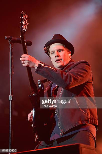 Musician Patrick Stump of Fall Out Boy performs on stage during the ATT Block Party at the NCAA March Madness Music Festival Day 1 at Discovery Green...