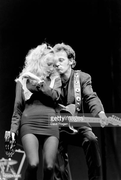 Musician Patti Scialfa performing on stage with Bruce Springsteen at Wembley Stadium London June 30th 1988