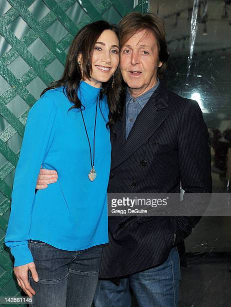 Musician Paul McCartney and wife Nancy Shevell arrive at the world premiere of My Valentine video premiere on April 13 2012 in West Hollywood...