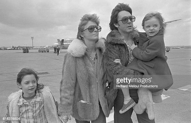 Musician Paul McCartney his wife Linda and their daughters Mary and Stella in Paris Paul is touring with his band Wings