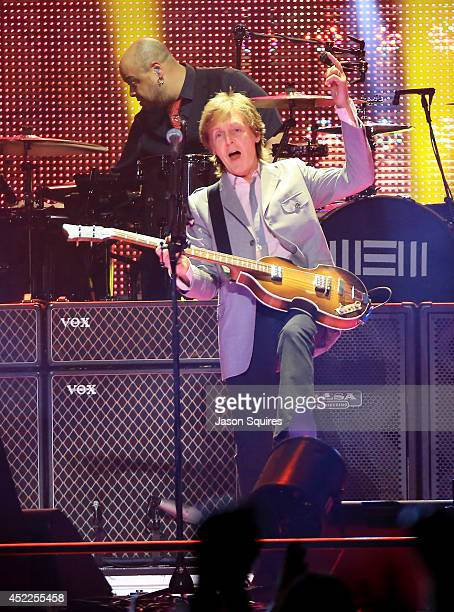 Musician Paul McCartney performs at Sprint Center on July 16 2014 in Kansas City Missouri