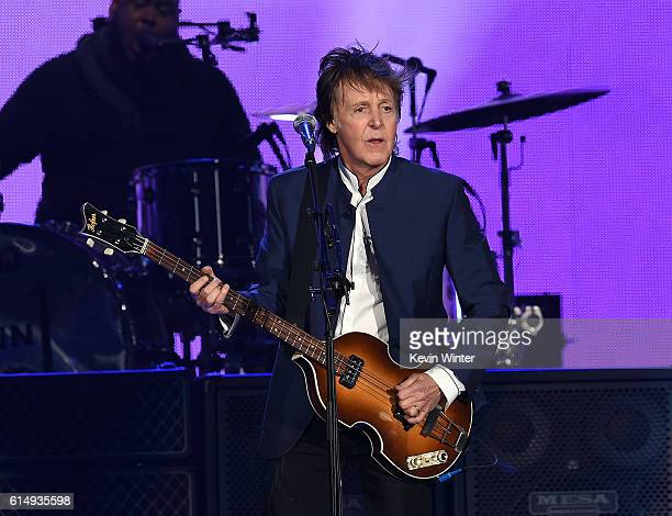 Musician Paul McCartney performs during Desert Trip at the Empire Polo Field on October 15 2016 in Indio California