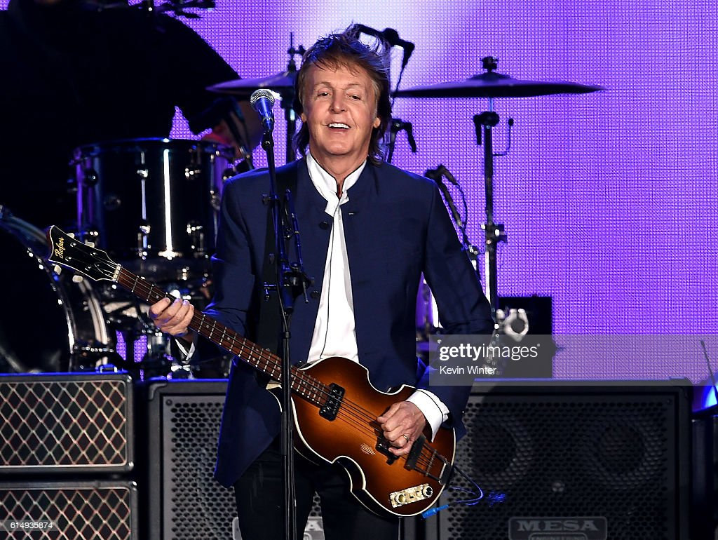 Musician Paul McCartney performs during Desert Trip at the Empire Polo Field on October 15, 2016 in Indio, California.