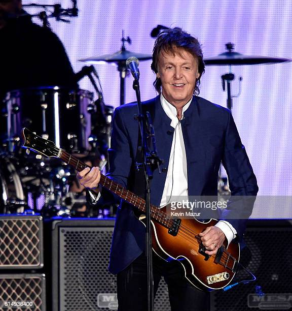 Musician Paul McCartney performs during Desert Trip at The Empire Polo Club on October 15 2016 in Indio California