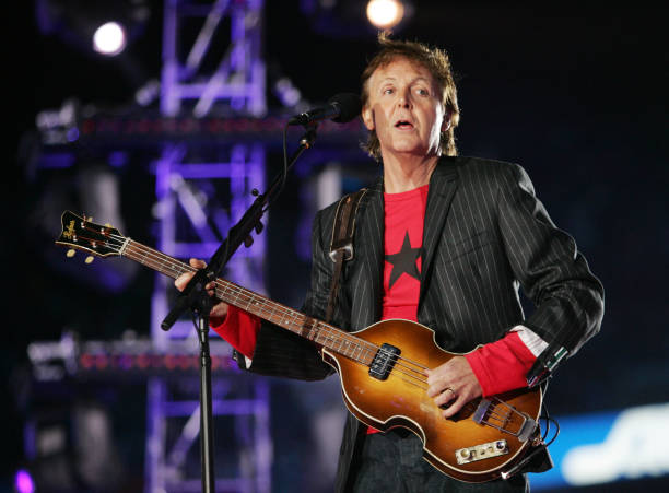 Musician Paul McCartney Performs On Stage During The XXXIX Superbowl Half Time Show At Alltel