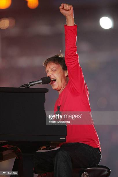 Musician Paul McCartney performs on stage during the XXXIX Superbowl HalfTime show at Alltel Stadium on February 6 2005 in Jacksonville Florida