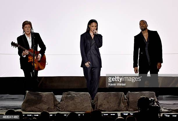 Musician Paul McCartney singer Rihanna and rapper Kanye West perform onstage during The 57th Annual GRAMMY Awards at the STAPLES Center on February 8...