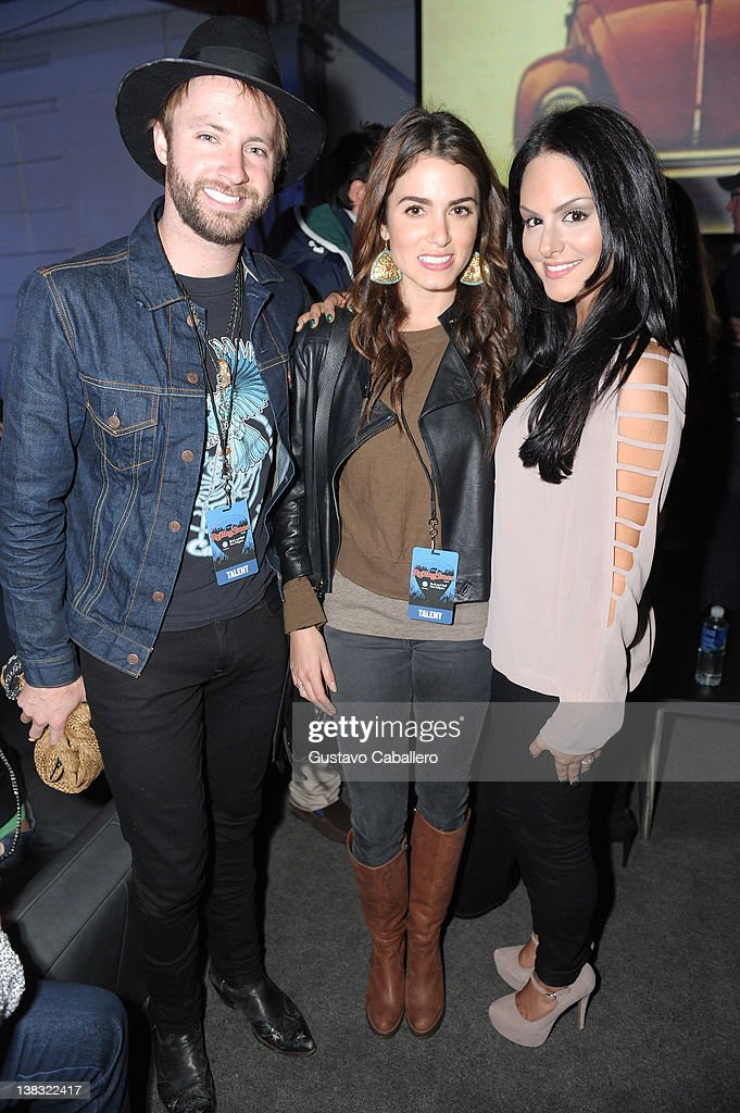 Musician Paul McDonald, actress Nikki Reed, and singer Pia Toscano attend The Rolling Stone Volkswagen Rock & Roll Fan Tailgate Party at The Crane Bay on February 5, 2012 in Indianapolis, Indiana.