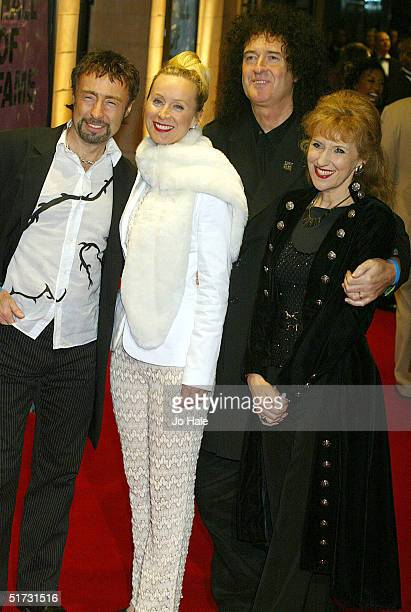 Musician Paul Rodgers wife Cynthia guitarist Brian May and actress Anita Dobson arrive at the final of UK Music Hall Of Fame the Channel 4 series...