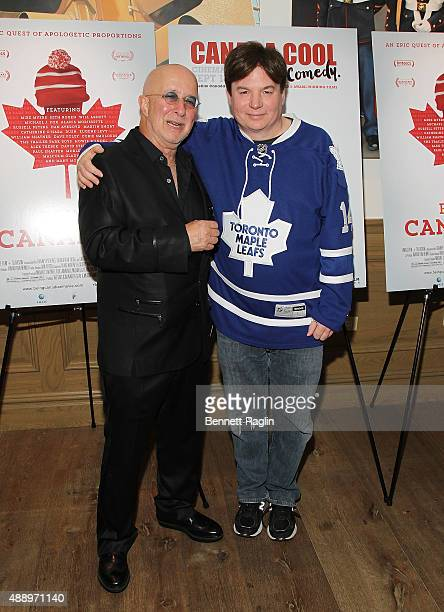 """Musician Paul Shaffer and actor Mike Myers attends the """"Being Canadian"""" New York Premiere at Crosby Street Hotel on September 18, 2015 in New York..."""