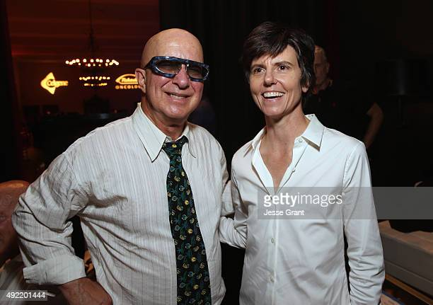 Musician Paul Shaffer and comedian Tig Notaro pose backstage during the 9th Annual Comedy Celebration presented by the International Myeloma...