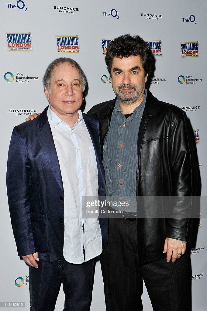Musician Paul Simon (L) and filmmaker Joe Berlinger attend the 'Under African Skies' screening during Sundance London at Cineworld 02 Arean on April 26, 2012 in London, England.
