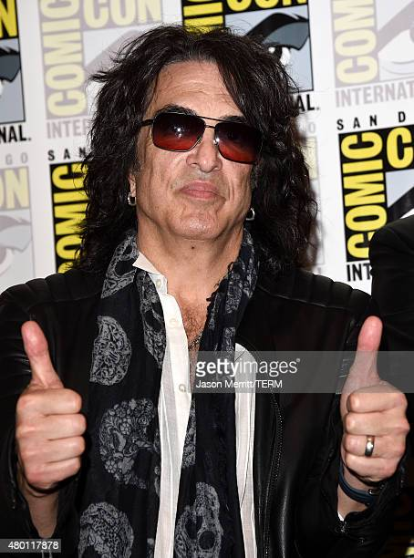 Musician Paul Stanley of Kiss attends the ScoobyDoo and Kiss Rock and Roll Mystery Press Room during ComicCon International 2015 at the at Hilton...