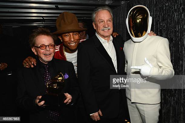 Musician Paul Williams musician Pharrell Williams musician Giorgio Moroder and GuyManuel de HomemChristo of Daft Punk attend the 56th GRAMMY Awards...