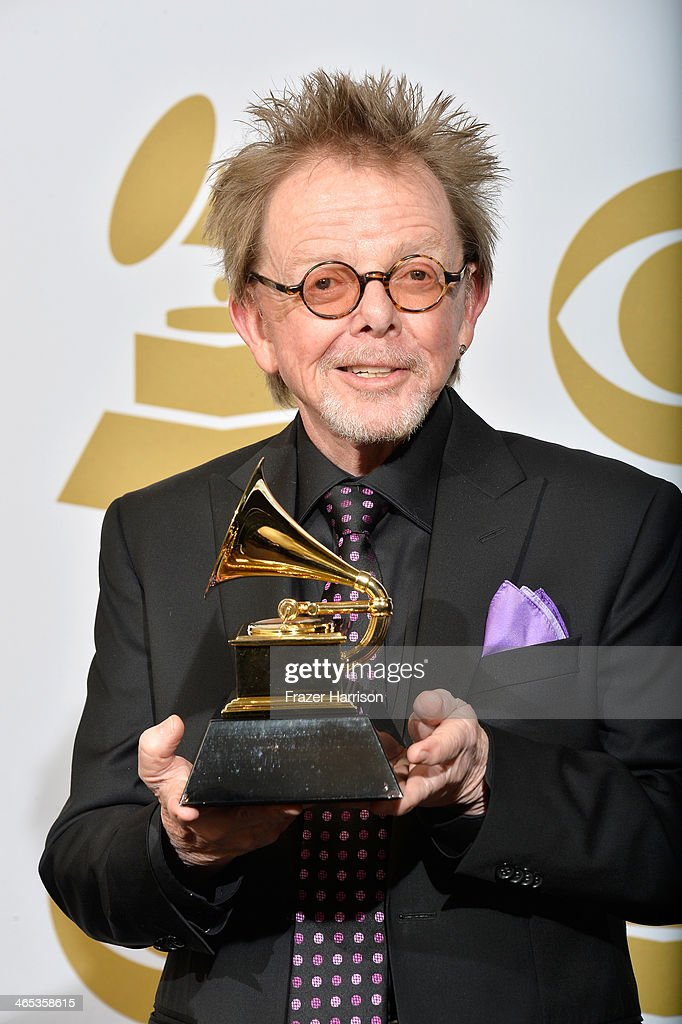 Musician Paul Williams of Daft Punk poses in the press room with his Album of the Year award for 'Random Access Memories' during the 56th GRAMMY Awards at Staples Center on January 26, 2014 in Los Angeles, California.