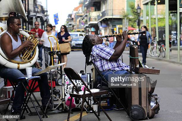 Musician performing in French Quarter street