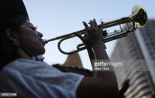 A musician performs during the 2016 Honk Rio Festival a celebration of brass bands on November 27 2016 in Rio de Janeiro Brazil The fourday festival...