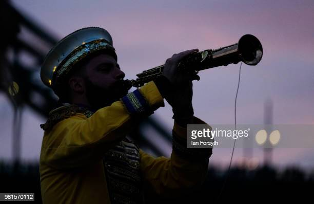 Musician performs for spectators during the opening ceremony of the Great Exhibition of the North on June 22, 2018 in Newcastle Upon Tyne, England....