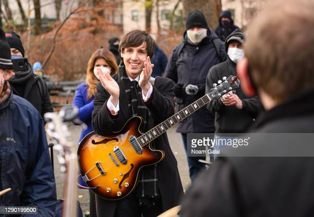Musician performs in honor of John Lennon on the 40th anniversary of his death at Strawberry Fields in Central Park on December 08, 2020 in New York...