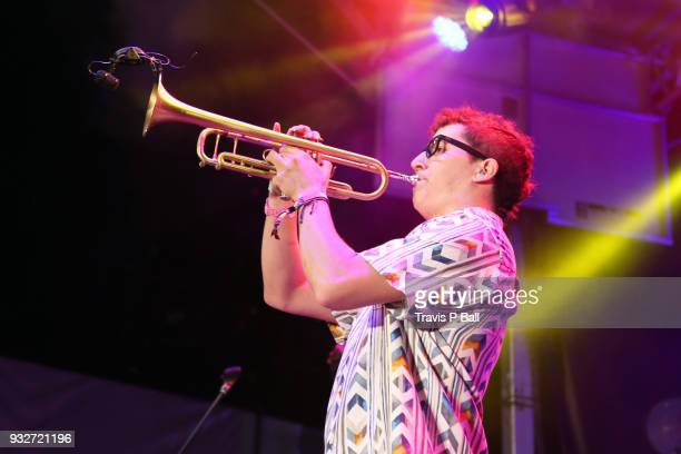A musician performs onstage with Wallows at Pandora during SXSW at Stubb's BarBQ on March 15 2018 in Austin Texas