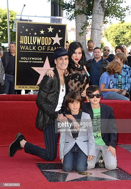 Musician Perry Farrell and his wife Etty Farrell along with children Hezron Wolfgang and Izzadore Bravo attend the ceremony honoring Jane's Addiction...